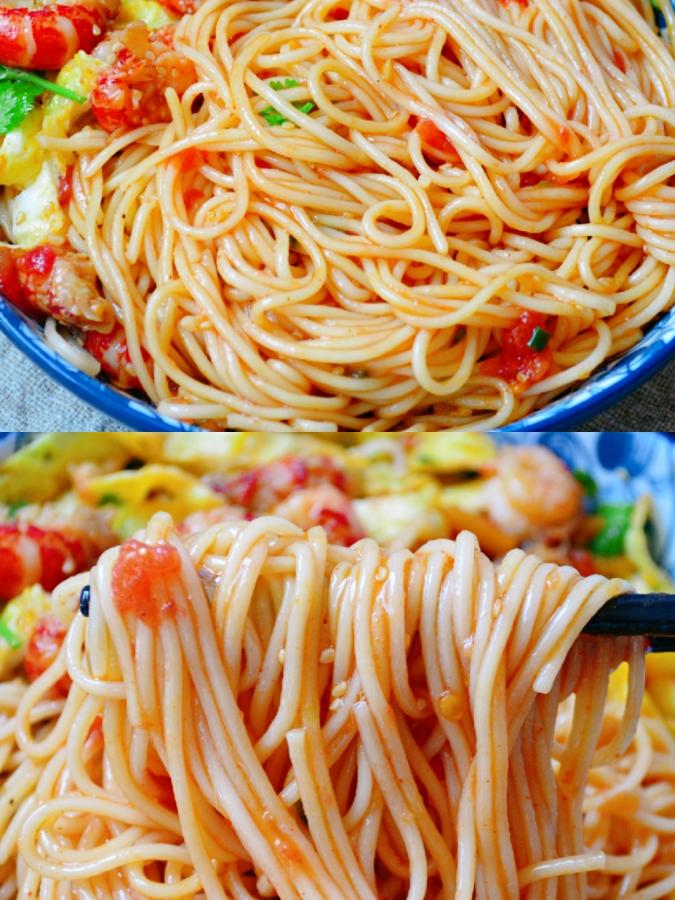 清爽开胃的番茄小龙虾凉拌面🔥夏季必