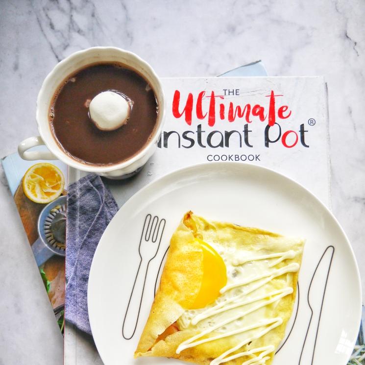 早安~~棉花糖热巧克力+火腿蛋可丽饼