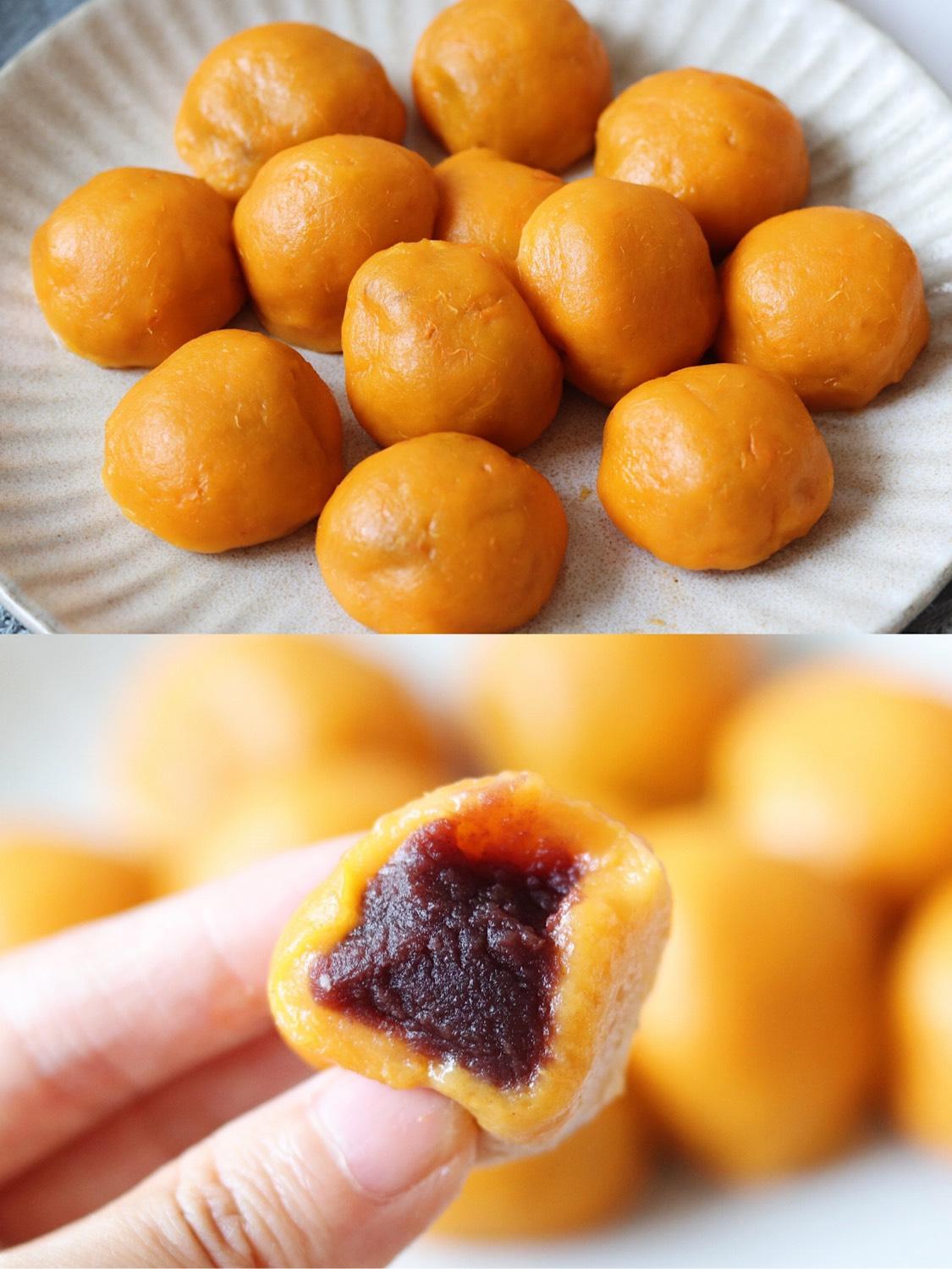 豆沙红薯球Q弹的豆沙红薯丸子,甜甜蜜