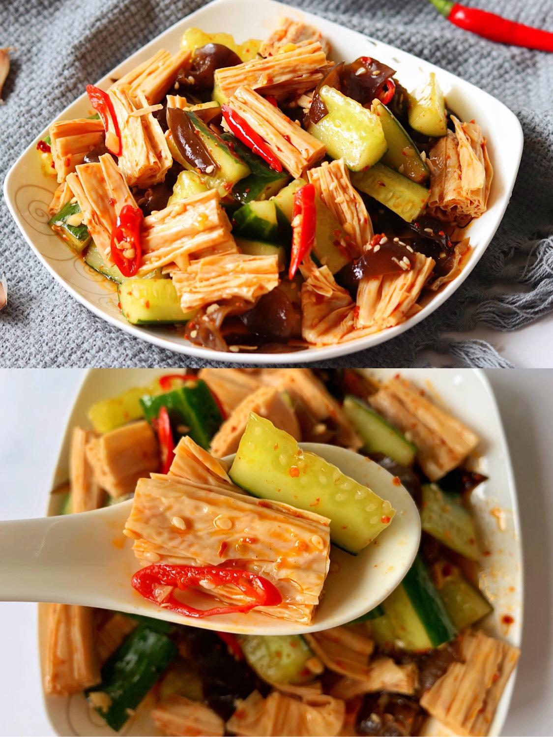 凉拌黄瓜腐竹连吃三天都不腻的凉拌菜‼