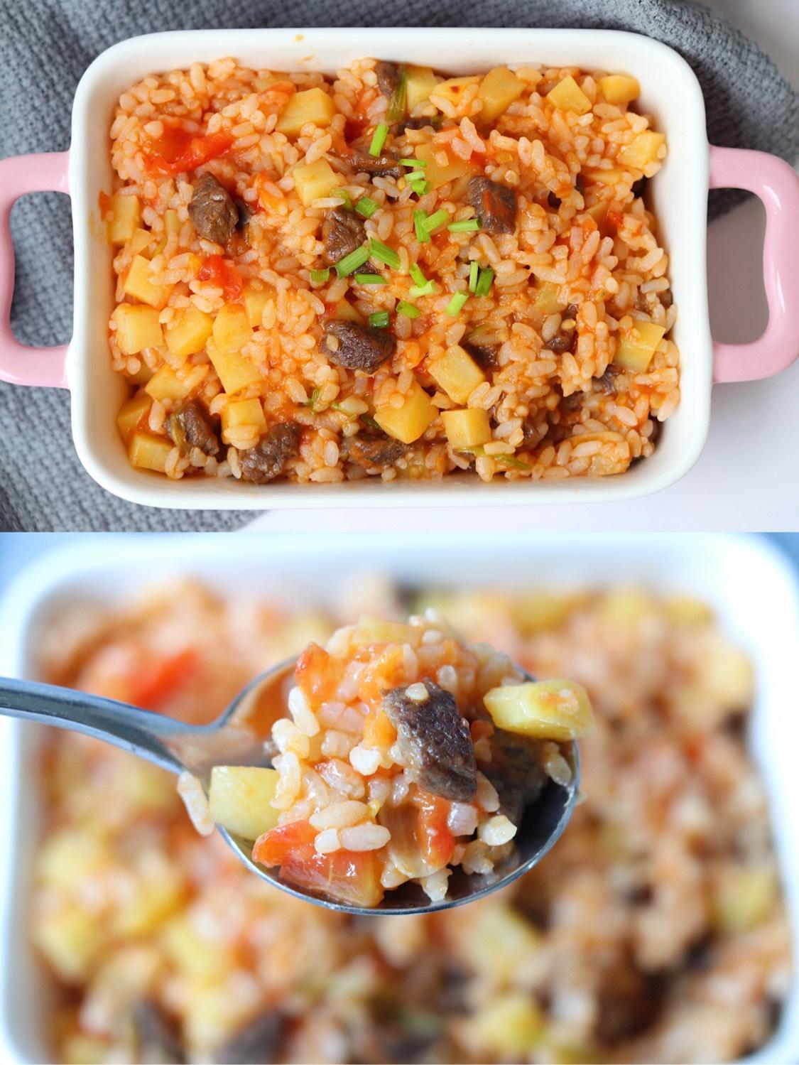 番茄土豆牛肉烩饭剩米饭这么做,太好吃